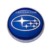 Колпачки заглушки для литых дисков Subaru синий с серой окантовкой