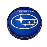 Колпачки заглушки для литых дисков Subaru синий с черной окантовкой