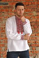 Белая мужская вышиванка с красно-черным геометрическим орнаментом М04/2-212