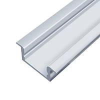 Комплект!!! Рассеиватель + Профиль алюминиевый LED врезной ЛПВ7 7х16мм, анодированный, цвет - серебро.