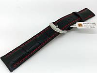Ремінець шкіряний Hightone для наручних годинників з класичною застібкою, чорний, 20 мм, фото 1
