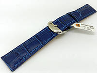 Ремешок кожаный Hightone для наручных часов с классической застежкой, синий, 20 мм