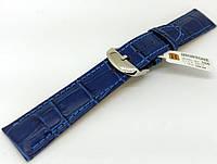 Ремінець шкіряний Hightone для наручних годинників з класичною застібкою, синій, 20 мм