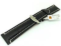 Ремешок кожаный Hightone для наручных часов с классической застежкой, черный, 22 мм, фото 1