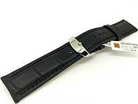 Ремінець шкіряний Hightone для наручних годинників з класичною застібкою, чорний, 22 мм