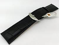 Ремінець шкіряний Hightone для наручних годинників з класичною застібкою, чорний, 24 мм