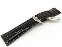 Ремешок кожаный Hightone для наручных часов с классической застежкой, черный, 24 мм, фото 1