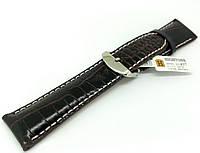 Ремінець шкіряний Hightone для наручних годинників з класичною застібкою, коричневий, 24 мм, фото 1