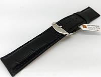 Ремінець шкіряний Hightone для наручних годинників з класичною застібкою, чорний, 24 мм, фото 1