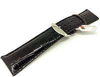 Ремінець шкіряний Hightone для наручних годинників з класичною застібкою, чорний, 26 мм, фото 1