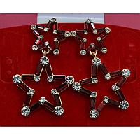 Серьги подвески, две звезды из камней, металл под золото, застежка гвоздик 001402