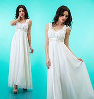 Платье длинное на лямках к выпускному из атласа и шифона - Белое