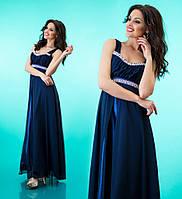 Платье длинное на лямках к выпускному из атласа и шифона - Темно синее