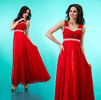 Платье длинное на лямках к выпускному из атласа и шифона - Красное