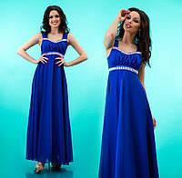 Платье длинное на лямках к выпускному из атласа и шифона - Синее
