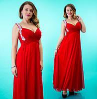 Платье шифоновое женское в пол со стразами на лямках - Красное