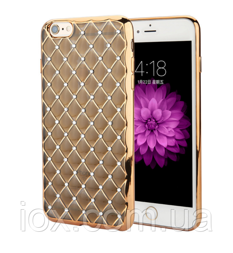 Золотий силіконовий чохол з камінням Сваровські для Iphone 6/6S