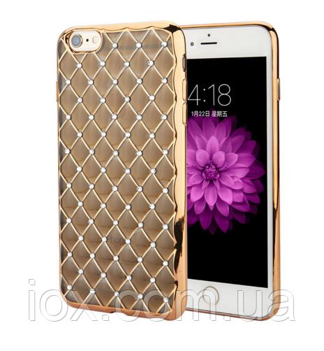 Золотой силиконовый чехол с камнями Сваровски для Iphone 6/6S
