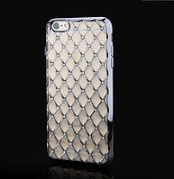 Серебряный силиконовый чехол с камнями Сваровски для Iphone 6/6S