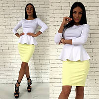 Костюм женский юбка и кофта с баской джерси - Белый+Желтый