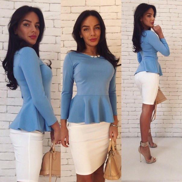 ce6b4d75a78 Костюм женский юбка и кофта с баской джерси - Голубой+белый