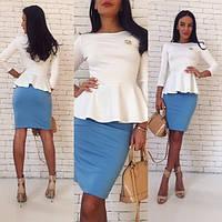 Костюм женский юбка и кофта с баской джерси - Белый+голубой