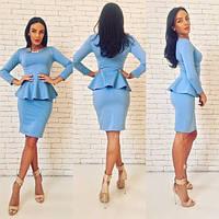 Костюм женский юбка и кофта с баской джерси - Голубой
