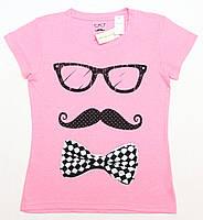 Розовая с принтом женская футболка KUIANNA, фото 1