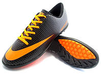Футбольные сороконожки Nike Mercurial Victory Turf Black/Orange/Gray, фото 1