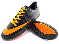 Футбольные сороконожки Nike Mercurial Victory Turf Black/Orange/Gray, фото 1