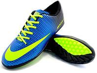 Детские футбольные сороконожки Nike Mercurial Victory Turf Blue/Yellow/Black, фото 1