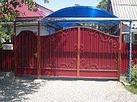 Ворота из красного профнастила