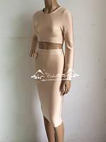 Herve Leger бандажное платье с длинным рукавом из двух частей  3 цвета, фото 1