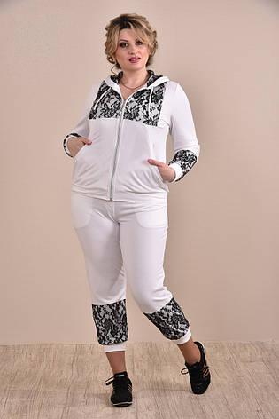 Спортивный костюм больших размеров 0253 белый 48-74, фото 2
