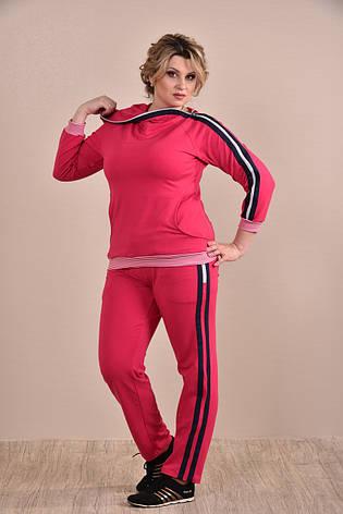 Женский спортивный костюм больших размеров 0254 малина 48-74, фото 2