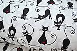 """Ткань """"Коты с сердечком"""" на белом фоне (№230а), фото 7"""