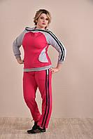 Женский спортивный костюм больших размеров 0254 малина+серый 48-74