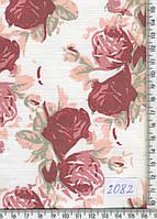 Джинс (средней плотности,коралловые розы) 2082