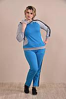 Женский спортивный костюм больших размеров 0254 голубой+серый 48-74