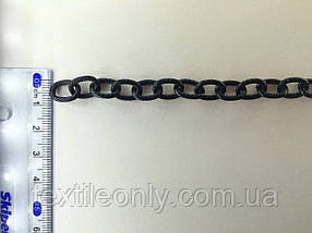 Цепь металлическая витая размер звена 13х8мм цвет черный