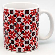 """Сувенірна керамічна чашка """"Національний орнамент"""" 350 мл"""