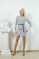 Женское платье с поясом белое, фото 1