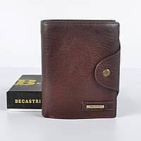 Чоловічий шкіряний  гаманець  Becastri  коричневий , фото 1