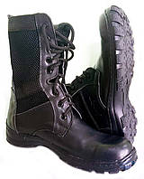 Ботинки (Берцы) летние черные. Вставка сетка.