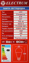 Светодиодная лампа LED 8W 4000K E27 ELECTRUM LS-8 (A-LS-0378), фото 3