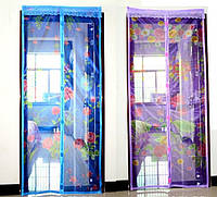 Антимоскитная сетка штора 90х210см на дверь на магнитах Magic mesh с рисунком