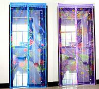 Антимоскитная сетка штора 90х210см на дверь на магнитах Magic mesh с рисунком Розовая