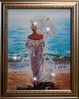 Картина со стразами Влюбленная в море