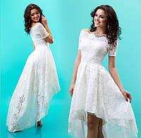 """Приталенное платье из гипюра с расклешенной асимметричной юбкой """"Паула"""" Белый, S"""