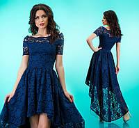 """Приталенное платье из гипюра с расклешенной асимметричной юбкой """"Паула"""" Синий, S"""